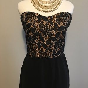 Tulle Strapless Black & Cream Lace Cocktail Dress